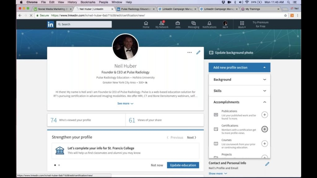 LinkedIn profiles having Udemy certifications